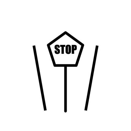 Stop sign icon vector isolated on white background, Stop sign transparent sign , line or linear sign, element design in outline style