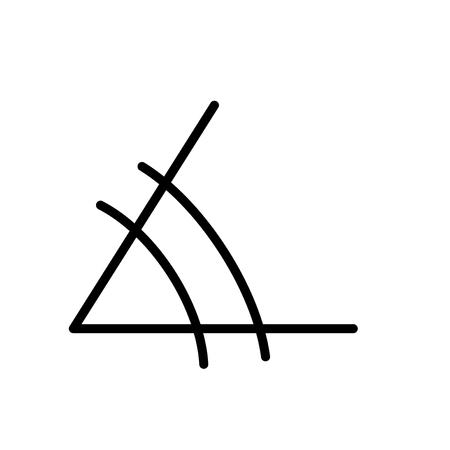 Angolo icona vettoriale isolato su sfondo bianco, segno trasparente di angolo, elementi di linea e contorno in stile lineare Vettoriali