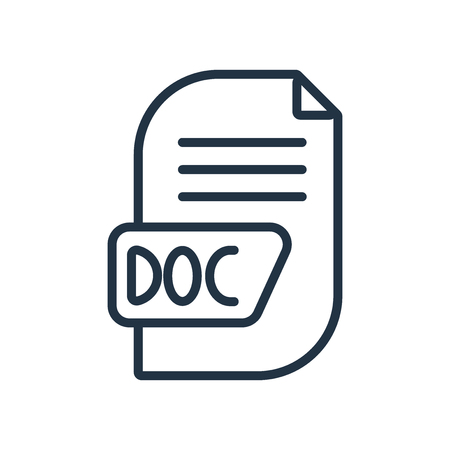 Doc icon vector isolated on white background, Doc transparent sign Illustration
