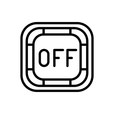 Off button icon vector isolated on white background, Off button transparent sign , line and outline elements in linear style Illustration