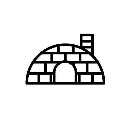 Igloo icona vettoriale isolato su sfondo bianco, segno trasparente igloo, linea o segno lineare, elemento di design in stile del contorno