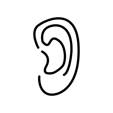 Ear icon vector isolated on white background, Ear transparent sign , line and outline elements in linear style
