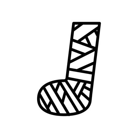 Vecteur d'icône pied plâtré isolé sur fond blanc, signe transparent pied plâtré, éléments de ligne et de contour dans un style linéaire Vecteurs