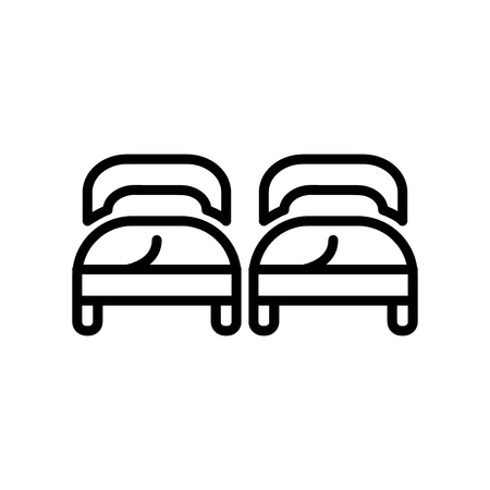 Beds icon vector isolated on white background, Beds transparent sign , line and outline elements in linear style
