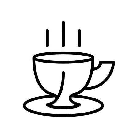 Coffee cup icon vector isolated on white background, Coffee cup transparent sign , line and outline elements in linear style