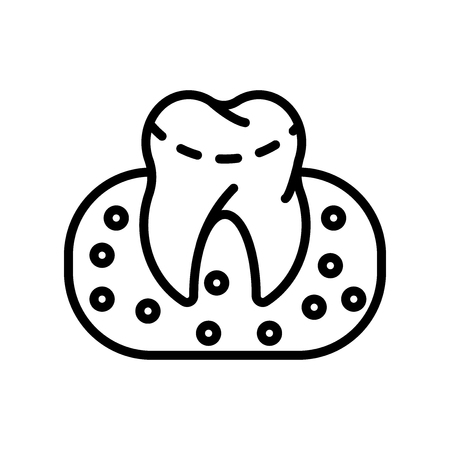 Gum icon vector isolated on white background, Gum transparent sign , line and outline elements in linear style Illustration