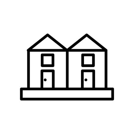 Case a schiera icona vettoriale isolato su sfondo bianco, segno trasparente di case a schiera, linea o segno lineare, elemento di design di una struttura Vettoriali