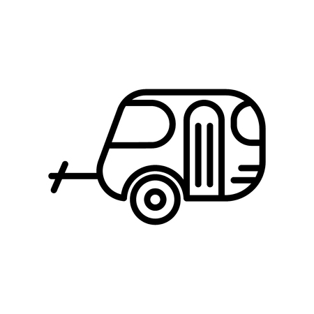 Caravan icon vector isolated on white background, Caravan transparent sign , line and outline elements in linear style