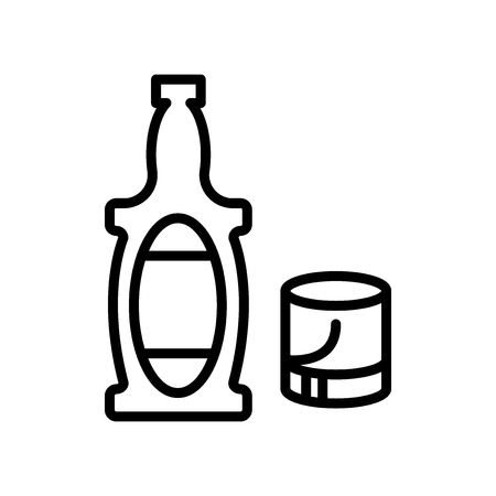 Whiskey icon vector isolated on white background, Whiskey transparent sign , line and outline elements in linear style