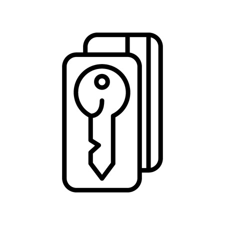 Door key icon vector isolated on white background, Door key transparent sign , line and outline elements in linear style