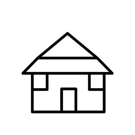 Bungalow icon vector isolated on white background, Bungalow transparent sign , line or linear sign, element design in outline style Ilustrace