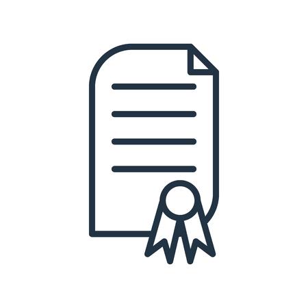 Zertifikatikonenvektor lokalisiert auf weißem Hintergrund, Zertifikat transparentes Zeichen