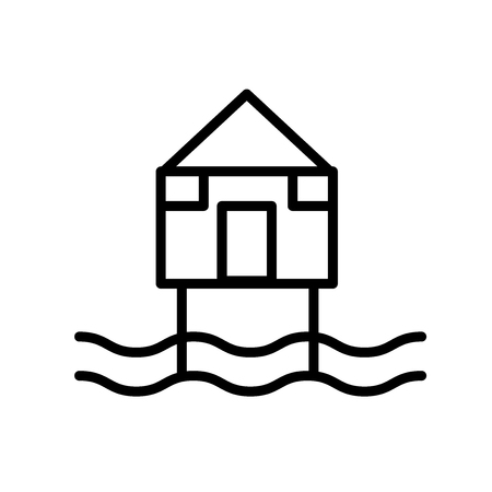 Beach Hut icon vector isolated on white background, Beach Hut transparent sign , line or linear sign, element design in outline style