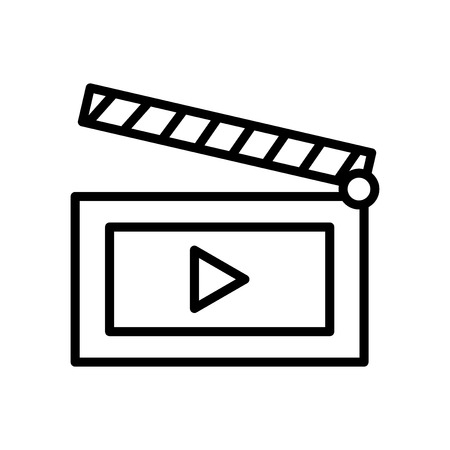 Movie icon vector isolated on white background, Movie transparent sign , line and outline elements in linear style Illustration