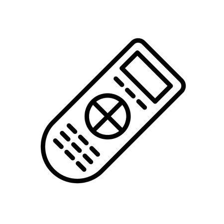 Remote-Symbolvektor lokalisiert auf weißem Hintergrund, entfernte transparente Zeichen-, Linien- und Umrisselemente im linearen Stil