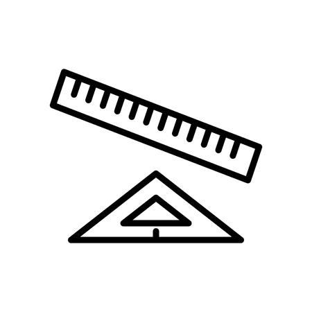 Ruler icon vector isolated on white background, Ruler transparent sign , line and outline elements in linear style Illustration