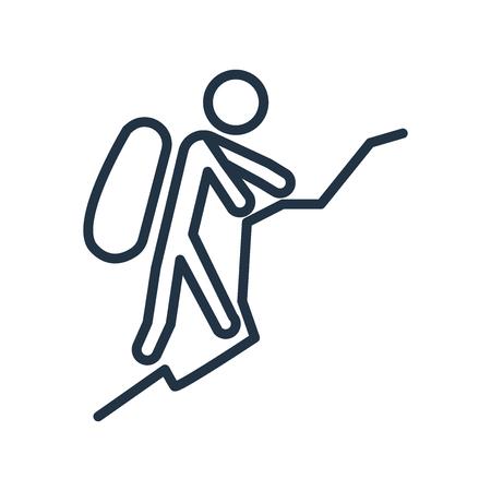 Vecteur d'icône d'alpinisme isolé sur fond blanc, signe transparent d'alpinisme Vecteurs