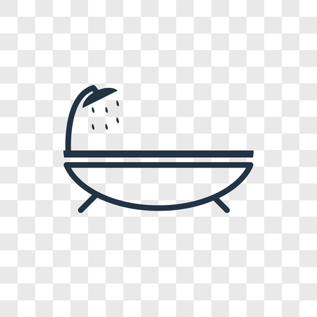 Bathtub vector icon isolated on transparent background, Bathtub logo concept Illustration