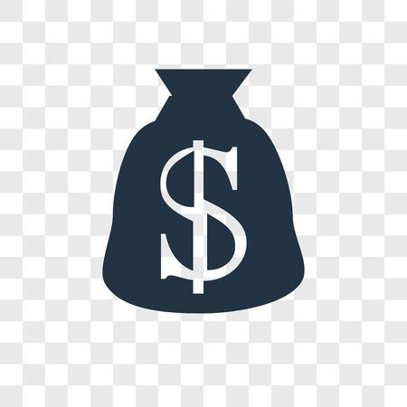Ikona wektor worek pieniędzy na białym tle na przezroczystym tle, koncepcja logo worek pieniędzy