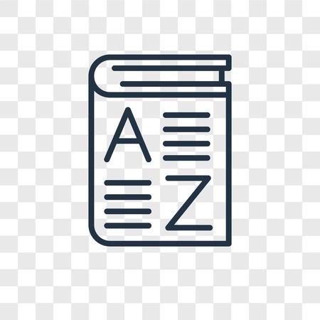 Wortschatzvektorikone lokalisiert auf transparentem Hintergrund, Wortschatzlogokonzept