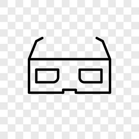 3d glasses vector icon isolated on transparent background, 3d glasses logo concept