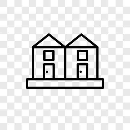 Terraced Houses vector icon isolated on transparent background, Terraced Houses logo concept