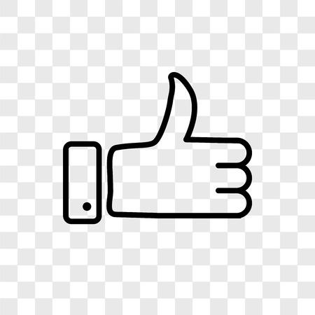 Icône de vecteur de pouce en l'air isolé sur fond transparent, concept logo Thumbs up Logo