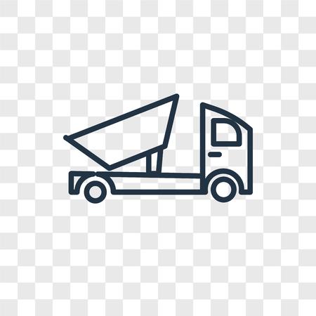Icono de vector de camión volquete aislado sobre fondo transparente, concepto de logo de tableta