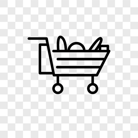 Cart vector icon isolated on transparent background, Cart logo concept Archivio Fotografico - 107779685