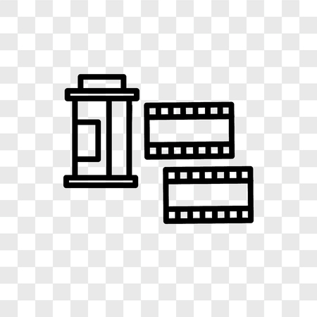 Film roll vector icon isolated on transparent background, Film roll logo concept