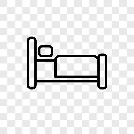 Icône de vecteur de lit isolé sur fond transparent, concept logo lit