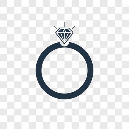Icono de vector de anillo aislado sobre fondo transparente, concepto de logo de anillo