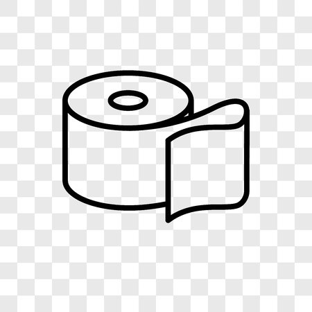 Toilet paper vector icon isolated on transparent background, Toilet paper logo concept Vettoriali
