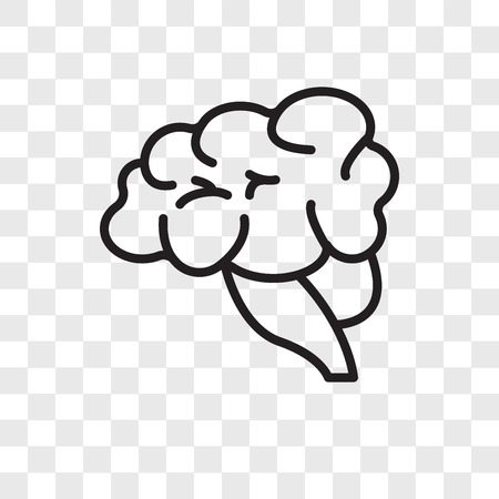 Brain vector icon isolated on transparent background, Brain logo concept Illustration