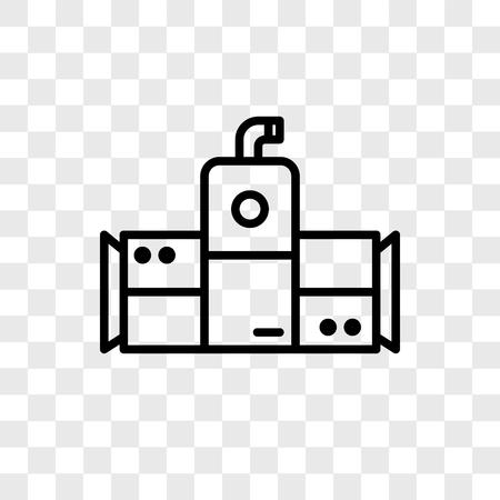 Icona di vettore di refrigeratore isolato su sfondo trasparente, concetto di marchio di refrigeratore Vettoriali
