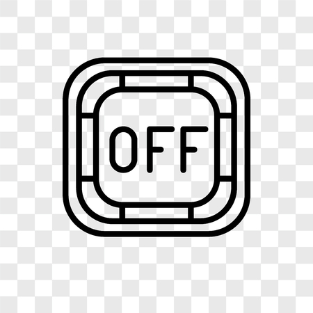 Off button vector icon isolated on transparent background, Off button logo concept