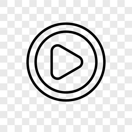 Icono de vector de reproductor de vídeo aislado sobre fondo transparente, concepto de logo de reproductor de vídeo