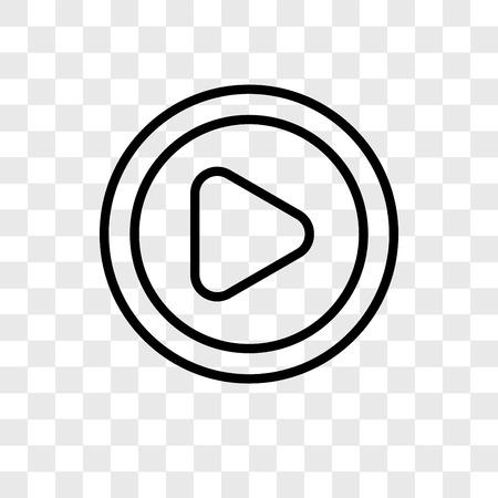 Videospeler vector pictogram geïsoleerd op transparante achtergrond, videospeler logo concept