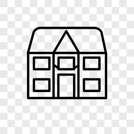 big house vector icon isolated on transparent background, Detached logo concept