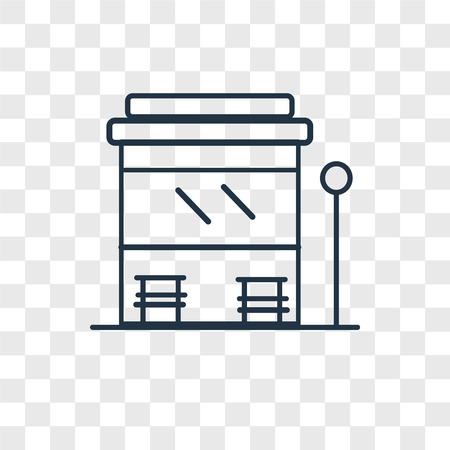 Bus stop vector icon isolated on transparent background, Bus stop logo concept