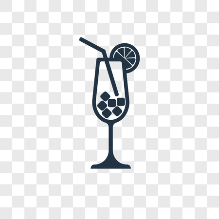 Cocktail vector icon isolated on transparent background, Cocktail logo concept