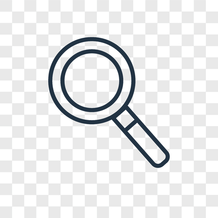 Magnifying glass vector icon isolated on transparent background, Magnifying glass logo concept