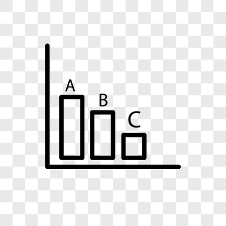 Bar chart vector icon isolated on transparent background, Bar chart logo concept Illusztráció