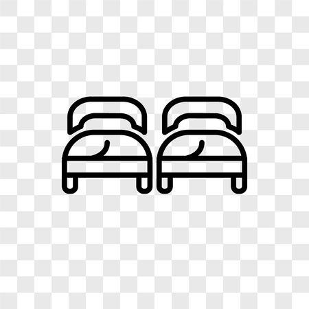 Beds vector icon isolated on transparent background, Beds logo concept Illustration