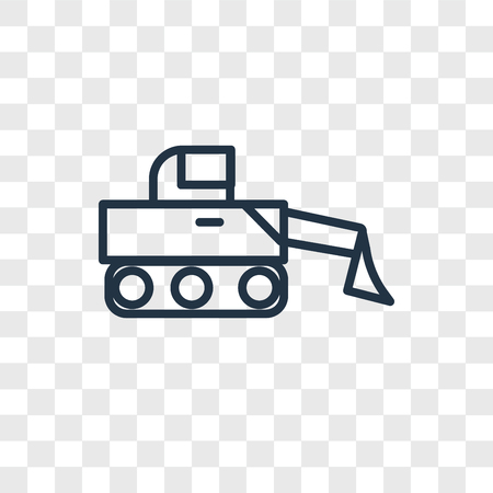 Bulldozer vector icon isolated on transparent background, Bulldozer logo concept