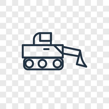 Bulldozer vector icon isolated on transparent background, Bulldozer logo concept