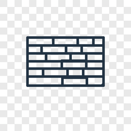 Brick wall vector icon isolated on transparent background, Brick wall logo concept Vettoriali