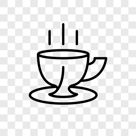 Coffee cup vector icon isolated on transparent background, Coffee cup logo concept
