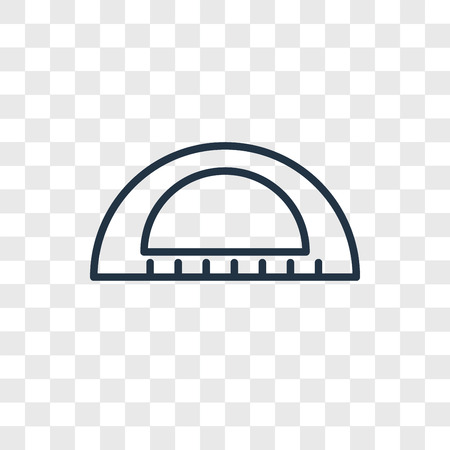 Protractor vector icon isolated on transparent background, Protractor logo concept Banque d'images - 107701131
