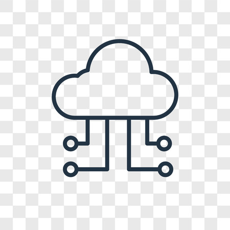 Cloud computing vector icon isolated on transparent background, Cloud computing logo concept Çizim